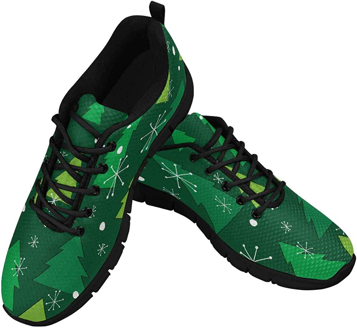 InterestPrint Christmas Tree Winter Forest Women's Breathable Sneaker