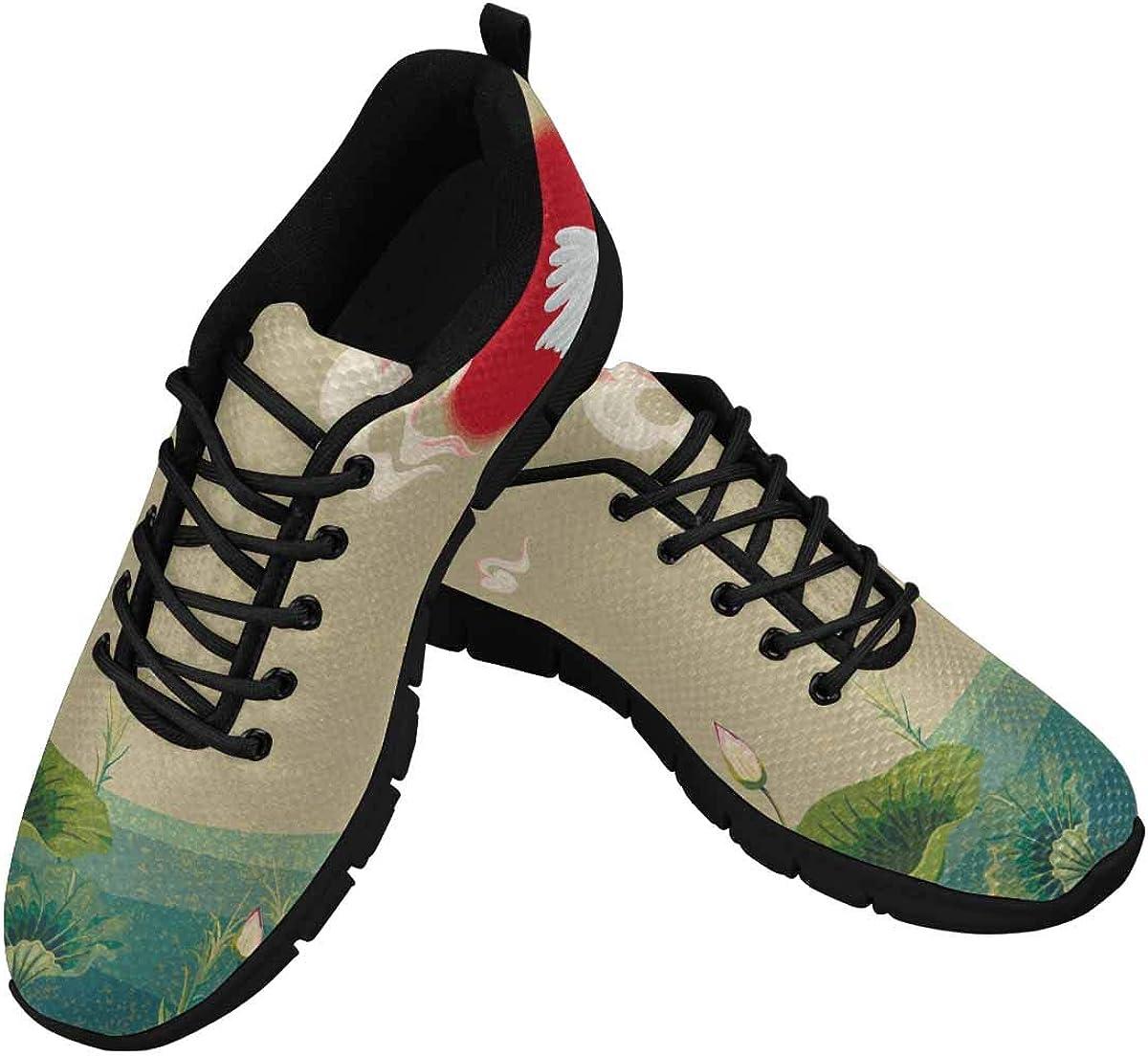 INTERESTPRINT Japanese Cranes at Sunset Women's Athletic Walking Shoes Comfort Mesh Non Slip