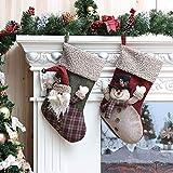 LLLKKK Calcetín de Navidad,Home Decoraciones de Navidad con muñeco de Nieve Mullido Viejo Hombre Calcetines a Cuadros de Navidad Colgante Bolsa de Regalo de Nochebuena