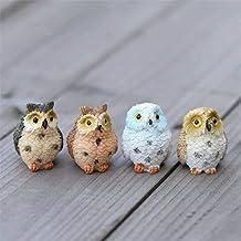 Danmu 4pcs Resin Mini Owls, Miniature Figurines, Fairy Garden Accessories, Fairy Garden Supplies, Fairy Garden Animals for...