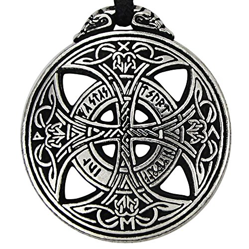 Pewter Large Celtic Love Knot Pendant Rune Necklace - 1 3/8 Inch Diameter