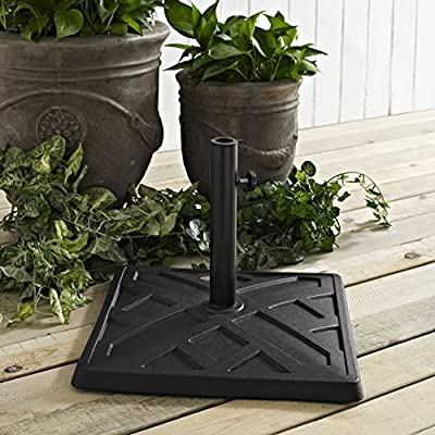 Walker Edison Metal Square Umbrella Base Stand Patio OutdoorAll Weather Backyard Garden Poolside Balcony Black38 Inch