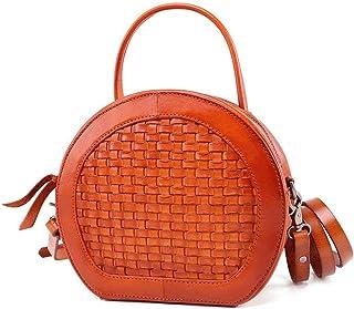 YHLZ Ladies Shoulder Bag, Hand Bag Shoulder Bag - Faux Leather, Fashion Ladies Hand-Knit Shoulder Bag Retro Ethnic Wild Crossbody Small Round Bag - 3 Colors Optional (Color : Orange)