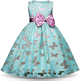 LUKEEXIN Printed Butterfly Sleeveless Princess Dress Girls Gowns Pageant Dress for Age 3-8 Years