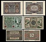 *** 10, 50, 100 Mark 3 Reichsbanknoten - Ausgabe 1920 - P67 - P68 - P69 - Reproduktion *** -