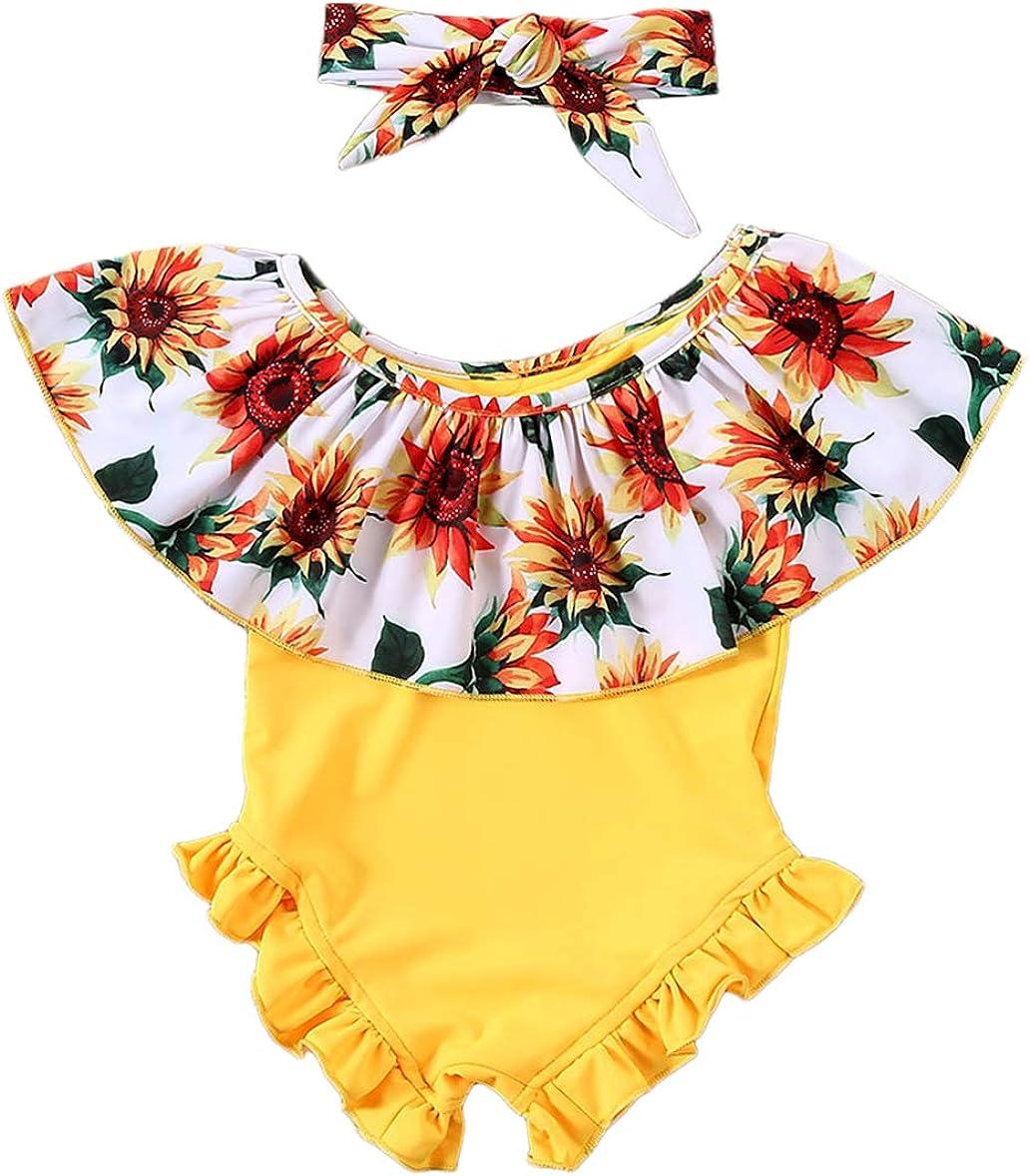 Styles I Love Baby Girls Sunflower Yellow Ruffle One-Piece Swims