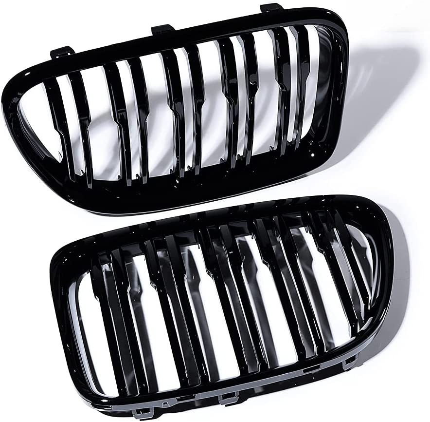 Set of Milwaukee Mall Glossy Black Front Upper Dual Grille Kidney Grill Sales for sale Center