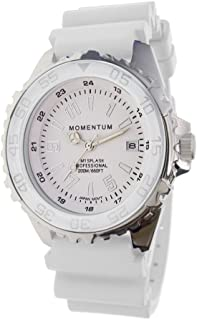 Momentum Quartz Stainless Steel and Rubber Casual Watch, Color:White (Model: 1M-DN63WS11W)