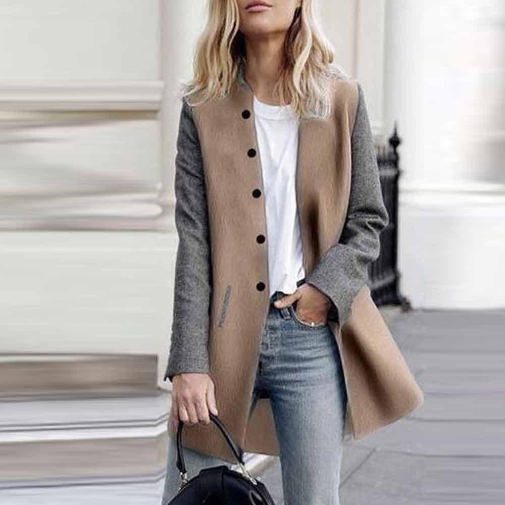 YEBIRAL Damen Herbst Winter Mantel Trenchcoat Patchwork Langarm Cardigan Schlank Mantel Elegant Frauen Mode Lässige Outwear Parka Jacke Grau