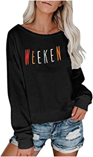 LENXH Letter Printed Long-Sleeved Shirt Ladies Solid Color Blouse Long-Sleeved Casual Pullover Sleek Minimalist Blouse