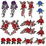 LEMESO 18 piezas Ropa Parches de Rosas Elegantes Material de Costura Adornos Flores para Ropa DIY Diseño Apliques de Modo Decoraciones