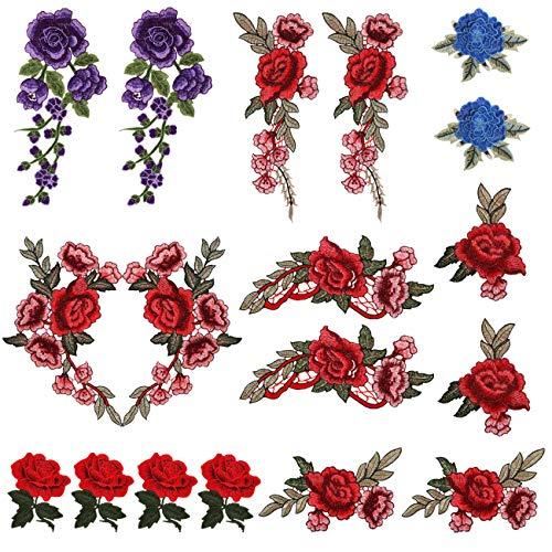 LEMESO 18 Pezzi Toppe Fiori Rose, Applique e Patch Decorative Applicabili Cucito, Carine per Tessuti, Vestiti, Giacche, Jeans, Zaini