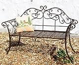 DanDiBo Gartenbank Metall Antik 111183 2 Sitzer Braun Bank Garten 146 cm Schmiedeeisen Sitzbank Parkbank