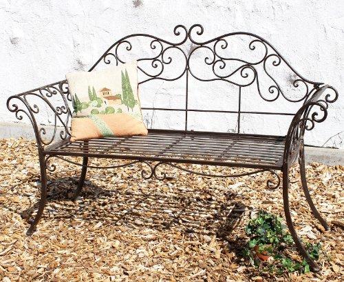 DanDiBo Gartenbank Metall Braun Wetterfest 146 cm 2 Sitzer Parkbank 111183 Antik Eisen Sitzbank Garten Antik