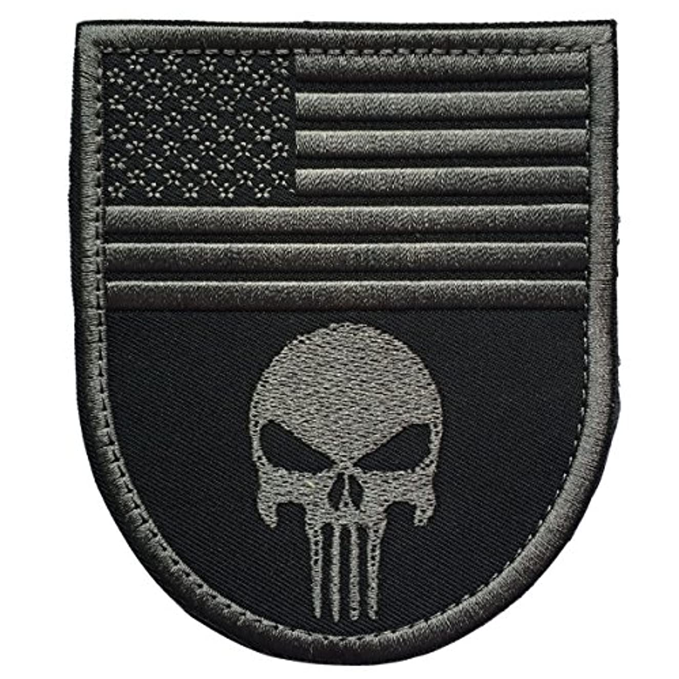 SpaceCar Gray Punisher w/USA American Flag Shield Shape Military Tactical Morale Badge Hook & Loop Fastener Patch 3.54