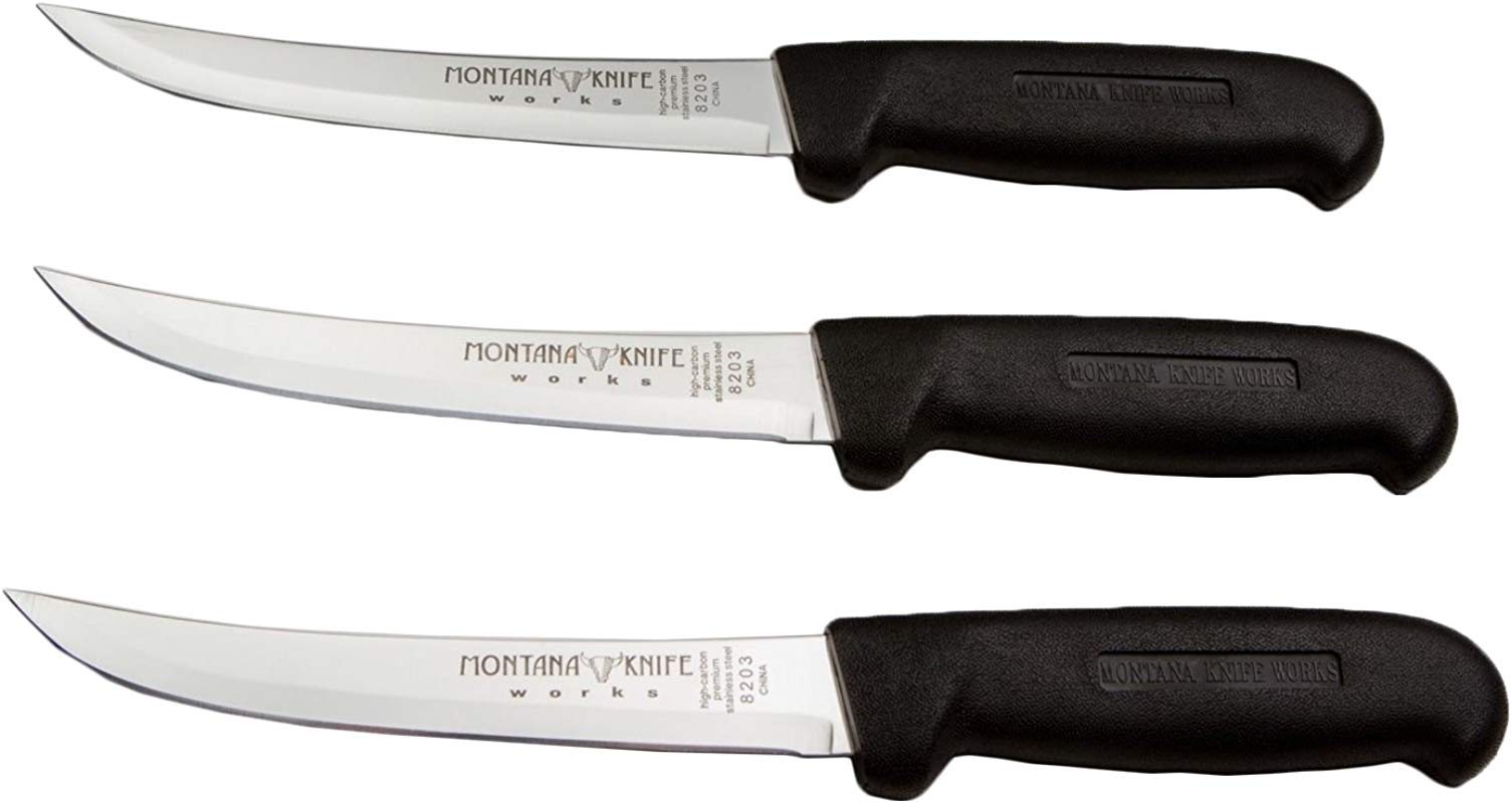 Set Of 3 Montana Knifeworks 6 Boning Knives Curved Stiff Black Fibrox Handle