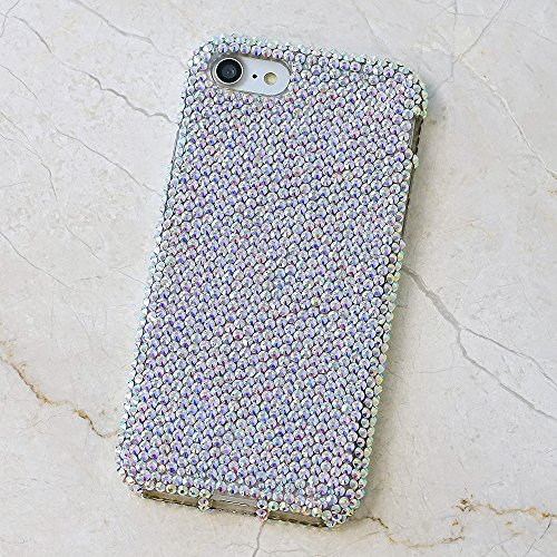 iPhone 8 Case, iPhone 7 Case, [Premium Handmade Quality] Bling Genuine Crystals Authentic AB Clear Crystals Hybrid Protective Cover for iPhone 8/7 by LUXADDICTION
