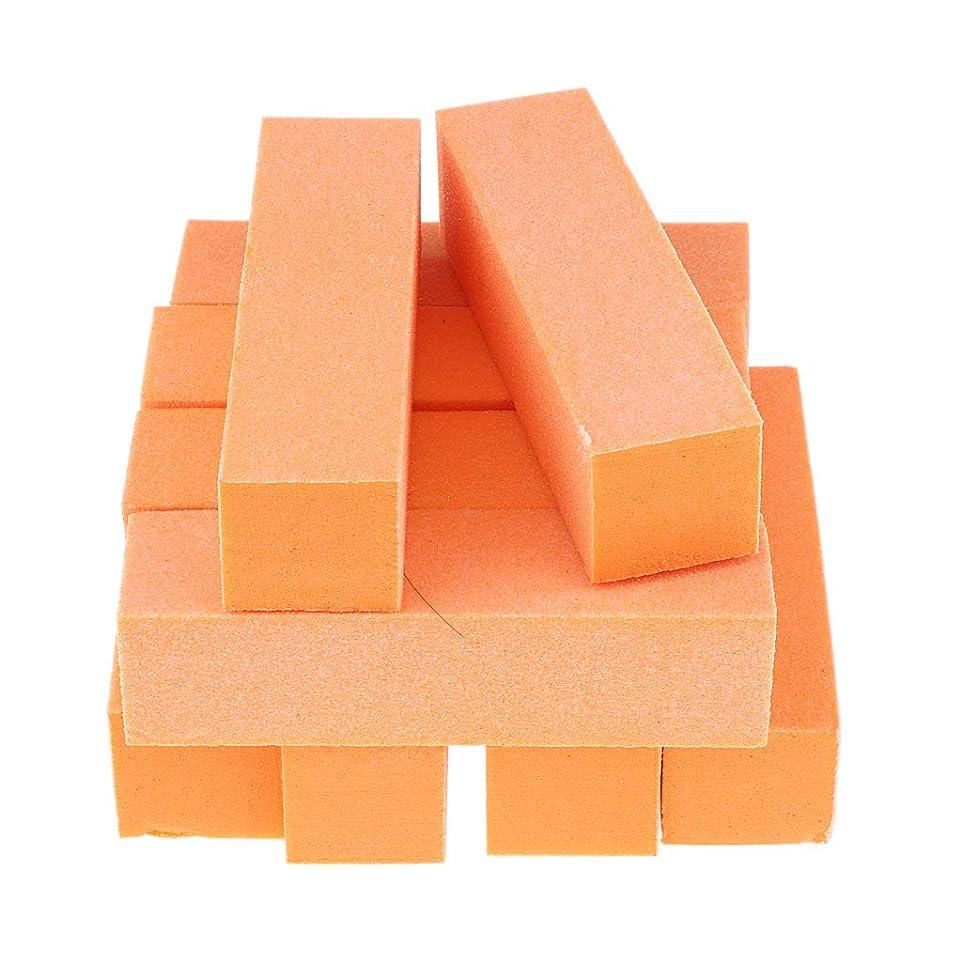 P Prettyia 10個 ネイルアート バッファファイルブロック マニキュア サンディング ポリッシュ 全5色 - オレンジ