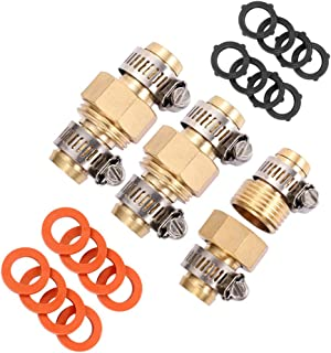 Brass Garden Hose Mender End Repair Kit Water Hose End Mender with Stainless Steel Clamp,Female and Male Hose Connector 3Sets, Extra 16 Washers. (5/8)