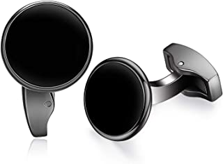 White Pearl Shell Black Onyx Cufflinks Round for Mens Gift