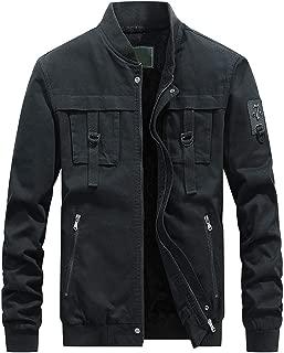 MIS1950s Men's Winter Warm Casual Pure Color Motorcycle Jacket Zipper Outwear Coat Tops