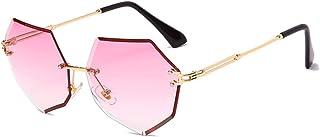 UKKD - Fashion Polygon Rimless Sunglasses Metal Metal Gafas De Sol Uv400 Shades Tendencia Eyewear