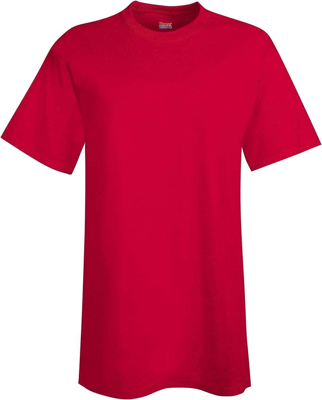 Hanes Mens 6.1 oz. Beefy-T Tall(518T)-DEEP RED/Navy-LT