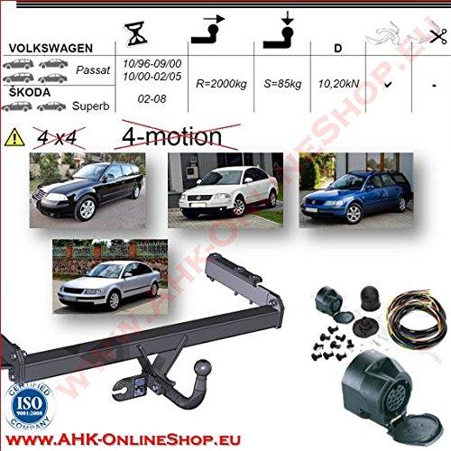 ATTELAGE avec faisceau 13 broches | Volkswagen Passat B-5 / Skoda Superb de 1996 à 2000 Break, Berline / crochet «col de cygne» démontable avec outils