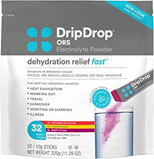 DripDrop ORS – Patented Electrolyte Powder for Dehydration Relief Fast - For Workout, Hangover, Illness, Sweating & Travel Recovery - Watermelon, Berry, Lemon Variety Pack - 32 Servings (11.29 oz)