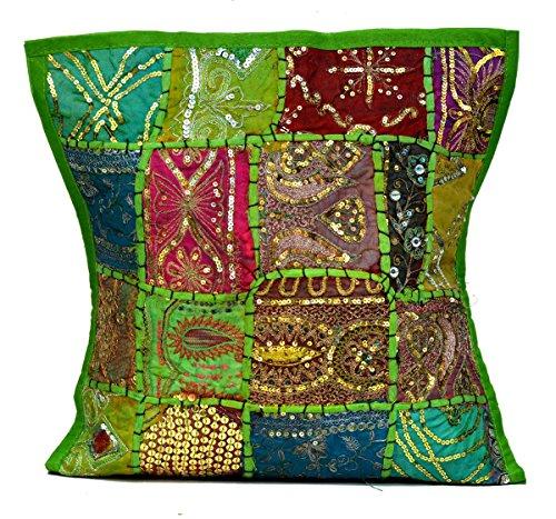 Sophia Art Un Indien Ethnique Broderie Paillettes Patchwork Sol Taie d'oreiller Couvre-lit Housse de Coussin (Vert)