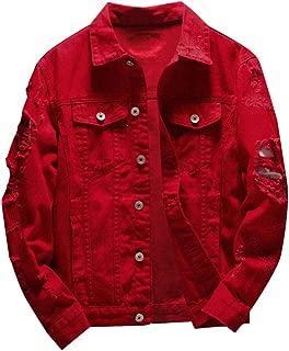 Sunward Coat for Men,Men's Autumn Winter Casual Long Sleeve Turn-Down Collar Solid Denim Jacket Coat