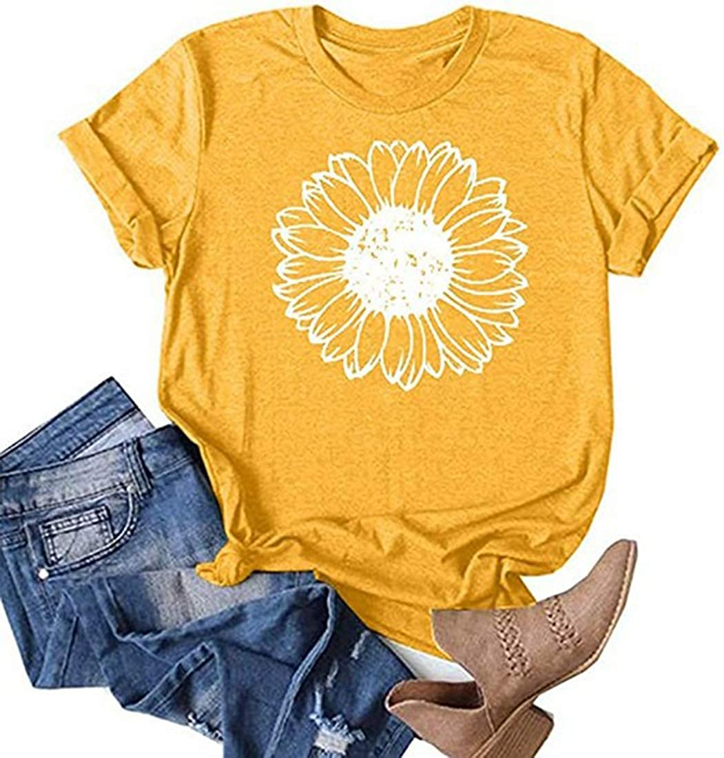 Women Summer Sunflower Now on 2021 spring and summer new sale Graphic Tees S Short O-Neck Inspirational
