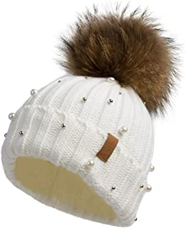 Women Knit Winter Turn up Beanie Hat with Pearl and Fur Pompom VC17605