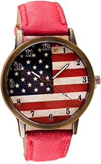 GBSELL Women American Flag Pattern Leather Band Analog Quartz Vogue Wrist Watches