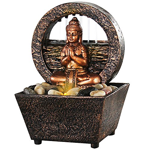 Newport coast collection Small Tranquil Buddha LED Water Fountain 7.2' High (No Adapter)