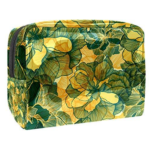 Trousse de toilette multifonction pour femme - Rose abstraite verte rétro