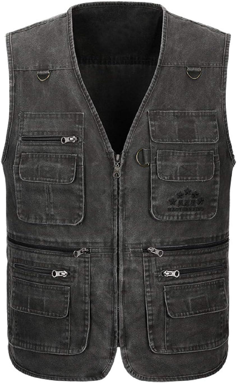 CHARTOU Men's Loose Multi-Pocket Zipper Safari Fishing Work Wear Wash Denim Vest