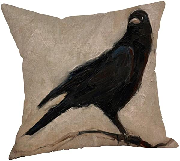 Clearance Paymenow Happy Halloween Crow Pillow Cases Linen Sofa Bed Cushion Cover Home Decor 18 X 18 E