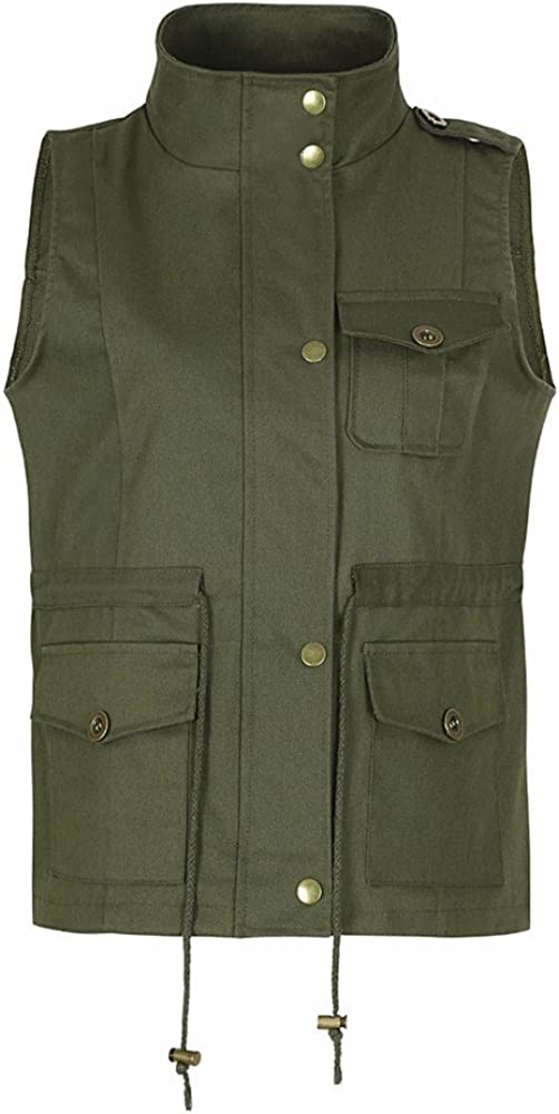 TRENDINAO Women Utility Vest Military Anorak Cargo Tank Jacket Hooded Drawstring Lightweight Sleeveless Waistcoat