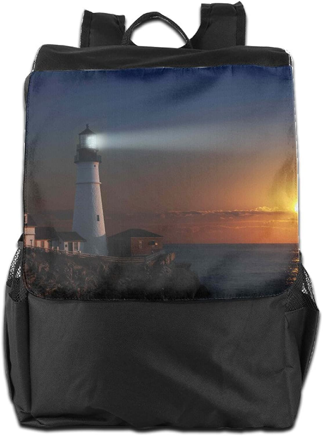 Sunset Falls Unisex Casual Hiking Backpack Lighthouse Lights