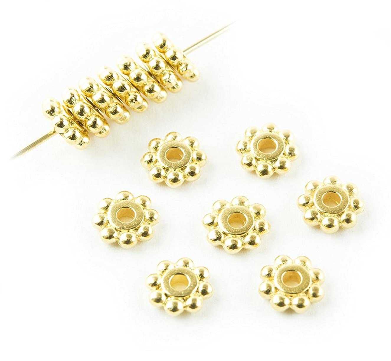 20pcs 14k Gold on Sterling Silver 4mm Small Round Daisy Flower Rondelle Spacer Metal Beads (Hole ~ 2mm) for Craft Making SS285