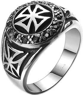 Gungneer Crusaders Knights Templar Cross Ring Stainless Steel Vintage Jewelry for Men Women