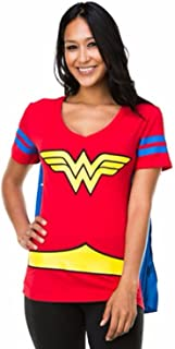 Dc Comics Wonder Woman Blue Stripes Juniors Cape T-shirt