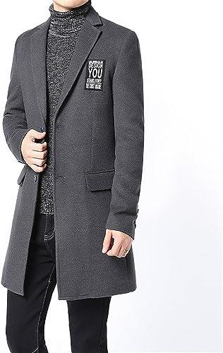 Le hommeteau de laine pour hommes jeunes coréens, veste en long hommeteau de laine.,gris,3xl