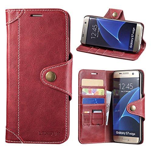 LENSUN Galaxy S7 Edge Hülle, Echt Lederhülle Wallet Stand Flip Tasche Handyhülle für Samsung Galaxy S7 Edge Schutzhülle - Wein Rot (S7E-GT-WR)