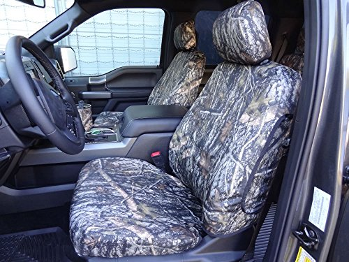 Durafit Seat Covers Made to fit 2015-2019 Ford F150-550 XL/XLT/Lariat, Front Buckets, with Adjustable HR & Rear 60/40 Split Bench, A-HR, No Armrest, Double Cab Front & Back Seat Cover Set, in Camo