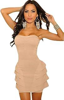 Miniabito Bandeau Donna Vestitino Vestito Raso Abito Moda Dress DL-700[Nero,M]