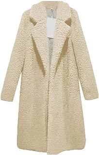 Womens Fuzzy Fleece Lapel Open Front Coats Long Sleeve Faux Fur Cardigan Jackets Outwears