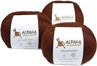 100% Alpaca Yarn Wool Set of 3 Skeins Fingering Weight 200 yards per skein Copper 60B