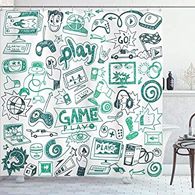 """Ambesonne Video Games Shower Curtain, Monochrome Sketch Gaming Design Racing Monitor Device Gadget Teen 90's, Cloth Fabric Bathroom Decor Set with Hooks, 70"""" Long, Sea Green by Ambesonne"""